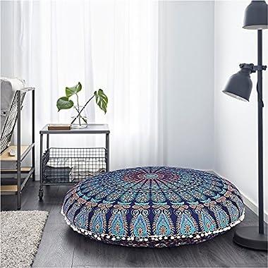 THE ART BOX Mandala Wall Tapestry Wall Hanging Ombre Tapestry Tapestry Ombre Bedding, Mandala Tapestry, Multi Color Indian Mandala Wall Art Hippie Wall Hanging (Blue Mandala, 32  Cushion Cover)