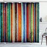 ABAKUHAUS Streifen Duschvorhang, Retro Bunte Bänder, Digital auf Stoff Bedruckt inkl.12 Haken Farbfest Wasser Bakterie Resistent, 175 x 200 cm, Multi