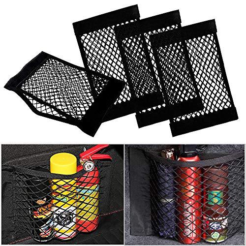 Rete Portaoggetti per Auto Bagagliaio (4 Pcs), UIHOL Storage Net Organizers con adesivi per Car Sedile Groceries, Tasca Telo Protettivo Mesh Net per Universale per SUV, Truck di Auto (25×40cm)