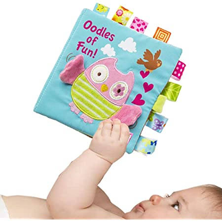 """Infant Book for Baby Boys Girls Touch and Feel, Soft Cloth Owl Crinkle Sensory Preschool Toddlers Toys, Fun Interactive Toy, Shower Gift for Babies, All Ages, Developmental Toy, Machine Washable, 6X6"""""""