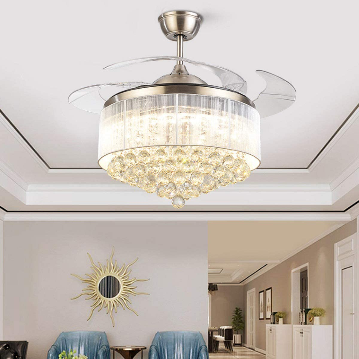 42inch Chrome Dimmable Surprise price Fandelier Crystal Fans with San Antonio Mall Light Ceiling