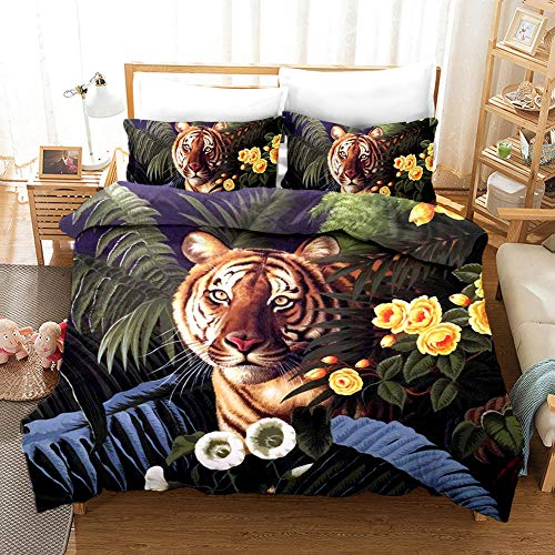 AHKGGM Duvet cover set Single Green plant leaf animal tiger Bedding 3 pcs Microfiber duvet cover 55x79 inch with zipper closure And 2 pillowcases 20x30 inch -for adults and children's bedrooms