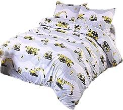 KIMKO Digger Bedding Set-Teens Soft Comforter Cover-Cartoon Yellow Grey Heavy Machinery Truck Crane Mixer Excavator Tracto...