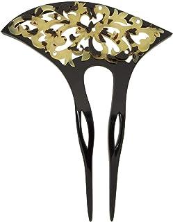 (ソウビエン) バチ型簪 黒 薄茶色 唐草 透かし彫り ラインストーン フォーマル 二本足 日本製