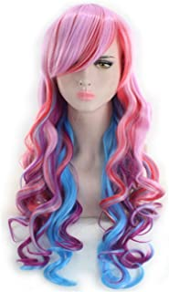 Long Curly Multi Color Rainbow Wig Anime Cosplay Wigs for Women Girls 24 Inches, Colorful