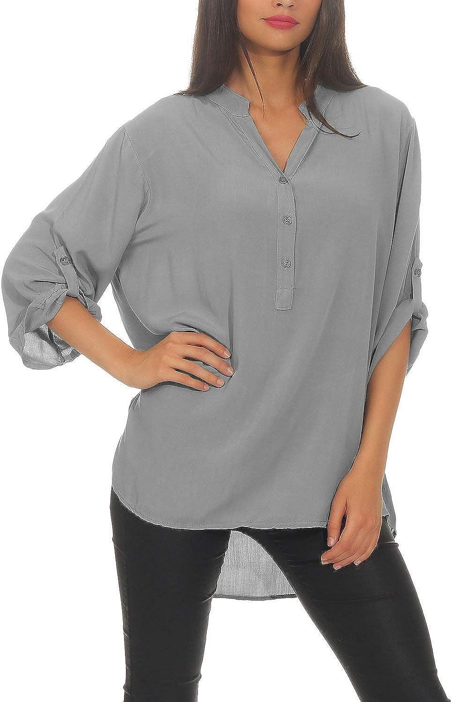 Zarmexx Blusa de Viscosa Holgada Blusa de la Camisa Manga 3/4 - Camisa de Pescador Blusa Ligera de Ajuste Holgado Blusa Talla única