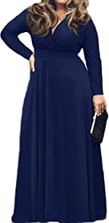 Women's L-4XL Solid V-Neck Long Sleeve Plus Size Maxi Dress