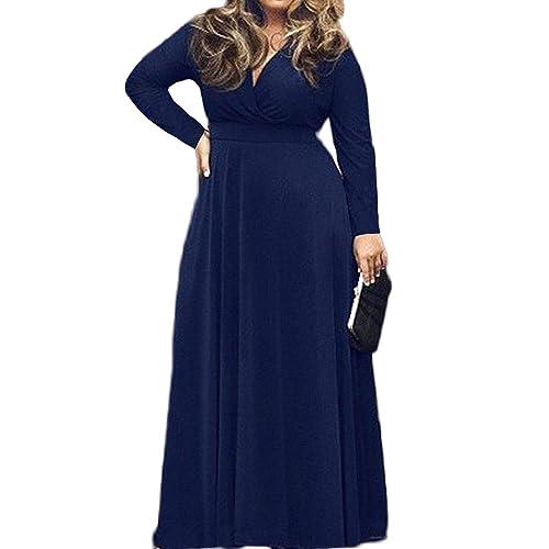 c867095ba96e POSESHE Women s L-4XL Solid V-Neck Long Sleeve Plus Size Maxi Dress