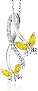 Gem Stone King 925 Sterling Silver Yellow Marquise Cut Zirconia Butterfly Infinity Women Pendant Necklace 1.18 Cttw with 18 Inch Chain