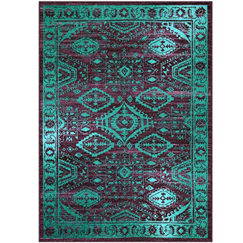 Maples Rugs Georgina Traditional Area Rugs for Living Room & Bedroom [Made in USA], 5 x 7, Winberry/Teal