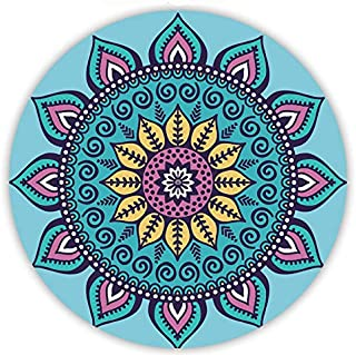 Round Yoga Mat/Meditation Mat, Indian Mandala Round Yoga Mat Printed Natural Rubber Roundie Tapestry Hippy Boho Gypsy Roun...