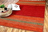 Navarro - Tapis Kilim Naturel - Rouge Orange - 8 Tailles Disponibles