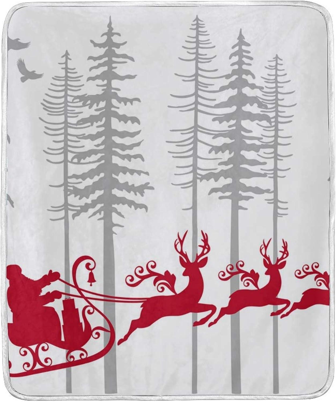 Senya Luxury Blanket Home Decor Santa Claus Reindeer Throw Blanket Lightweight Microfiber Super Soft Warm Cozy Plush Bed Blanket 60 x 50 Inches