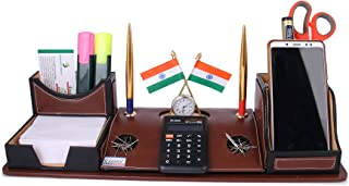 Rasper Brown Leather Multipurpose Desk Organizer Pen Stand Holder with Calculator Watch Flag for Office Table Top with Mob...