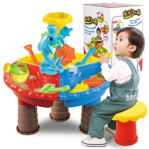 Redcolourful 1 Set Niños Beach Table Sand Play Juguetes Set Baby Water Arena Dragado Herramientas Color Aleatorio Beach Table【9827- Color Box】