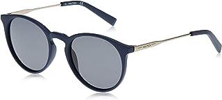 نظارة شمسية بتصميم دائري وشعار حرف ان مطبوع بالليزر للرجال من نوتيكا، لون نافي مطفي