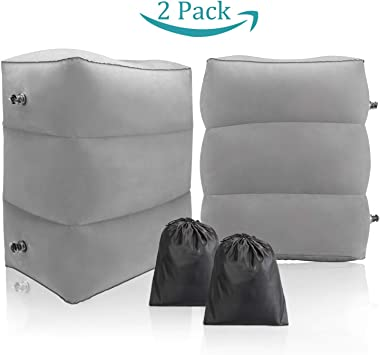 Maliton Inflatable Travel Foot Rest Pillow- Toddler & Kids Bed Airplane Bed, Inflatable Foot Rest for Air Travel, Adjustable Height Leg Rest Pillow for Airplane, Home, Trains, Cars(Grey, 2 Pack)