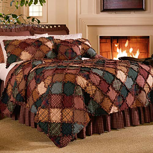 Donna Sharp King Quilt - Campfire Lodge Quilt with Patchwork Pattern - Machine Washable