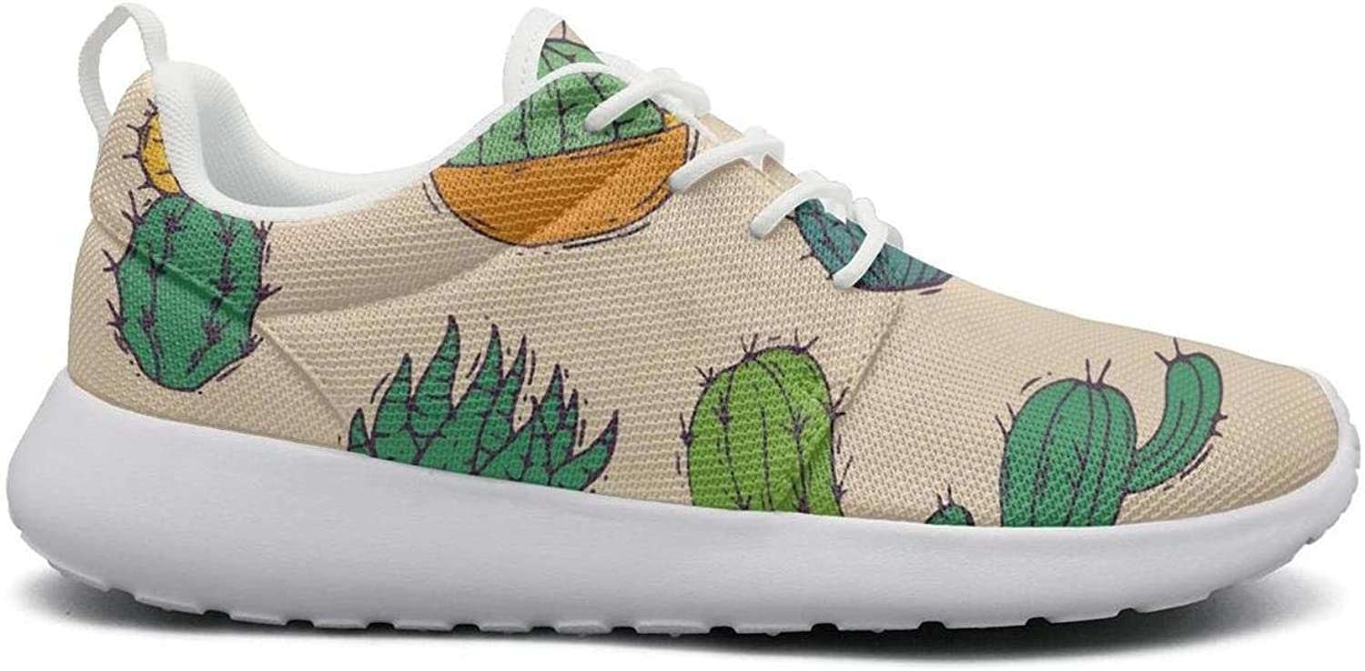 Wirksep Brown Cactus in A Funny Pot Womens Quick Dry Lightweight Athletic shoes Sneakers Shock Absorbing