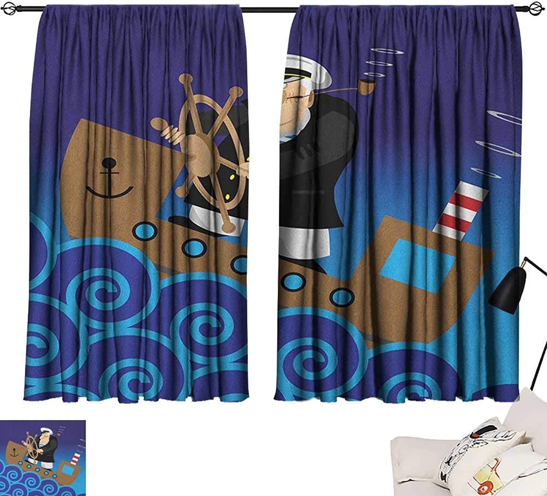 Beihai1Sun Nautical Bedroom Darkening Curtains Captain on Ship with Wavy Ocean Cartoon Style Illustration Marine Adventure Design Curtain for Kids Room Multicolor W63 x L63