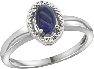 Sterling Silver Diamond Halo Natural Lapis Ring Oval 6X4 mm, 3/8 inch wide, sizes 5-10