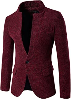 ZongSen Men's Blazer Casual Slim Fit Tweed One Buttons Business Suit Jackets Coat