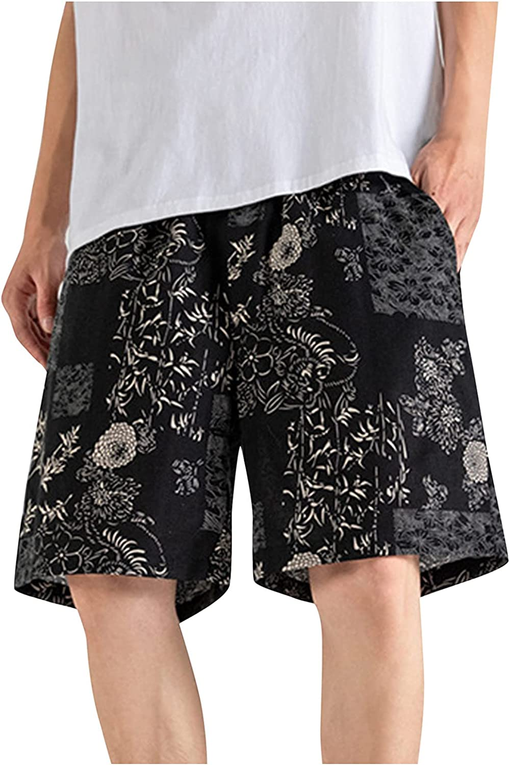 PHSHY Floral Printed Shorts for Men Summer Elastic Waist Swim Trunks Casual Hawaii Quick Dry Beach Hippe Loose Shorts