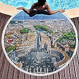 Toalla de playa redonda Toalla de playa de viaje europeo Plaza de San Pedro en Roma Europa mediterránea italiana Citscape Estampado urbano utilizado para meditación, descanso junto a la piscina multic