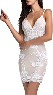 Simplee Women's Sexy V Neck Straps Sequin Bodycon Mini Dress Party Clubwear