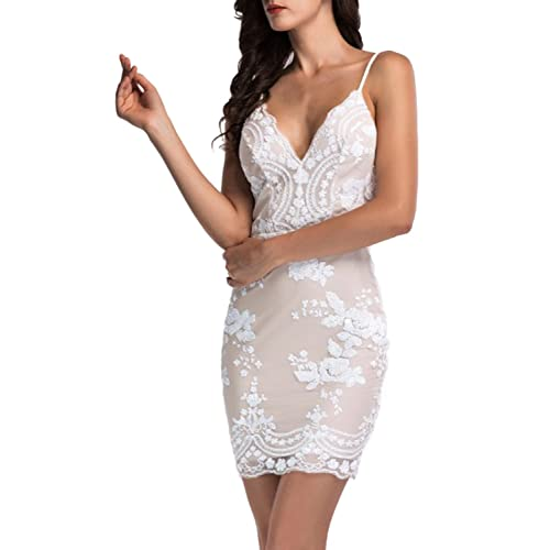 34a578be9581 Simplee Apparel Women's Sleeveless Sequin V Neck Strap Bodycon Mini Dress