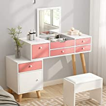 Bedroom Furniture Modern Dresser Manmade Board Solid Wood Leg Dressing Table Creative Toilet Makeup Table with Drawer,C
