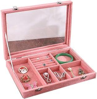 Yuan Ou Portagioie Porta Gioielli Trasparente Finestra Orecchini Anelli Bracciale Mostra Caso 28x20x5cm Rosa B