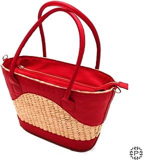 Palmanera   Bolsa Tote de palma y piel color rojo