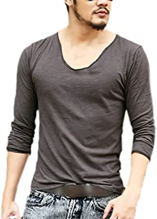 Zbrandy Men's Fitted Tops Scoop Neck Long Sleeve T Shirts With Cut Off Border Colour Dark Grey Size XXL