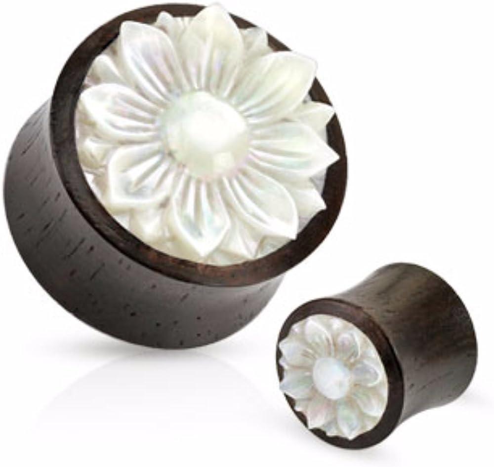Lotus Flower Mother of Pearl Inlay Organic Wood WildKlass Saddle Plug (Sold as a Pair)