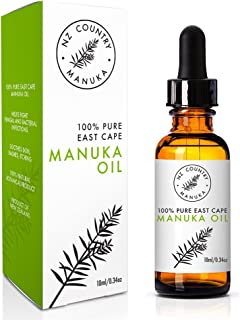 NZ Country 100% Manuka Oil 10ml Pure East Cape Natural Anti-Fungal Antiseptic Stronger Than Tea Tree Oil for Skin Conditions Like Acne Foot Fungus Tinea Boils Roseca etc
