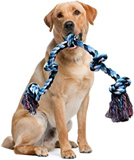 Hamkaw Dog Rope Toy for Aggressive Chewers - 3 Feet 5 Knots Indestructible Dog Chew Toy - Washable Nature Cotton Pet Teething Toy Tub for Medium and Large Breed - Best Pet Gift