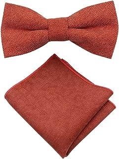 Rusty Burnt Orange Cotton Bow Tie & Pocket Square Set