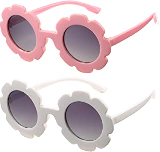 Cute Round Flower Sunglasses for Kids Bouryo, 2 Pack Polarized Glasses for Girls & Boys Party Favor Accessories