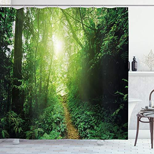ABAKUHAUS Landschaft Duschvorhang, Weg im Dschungel von Malaysia, Hochwertig mit 12 Haken Set Leicht zu pflegen Farbfest Wasser Bakterie Resistent, 175 x 180 cm, Grün