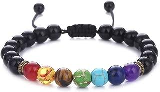 7 Chakra Bracelet Healing Heart Charm Bracelets 2019 Wrist Mala Beads Stone Adjustable Bracelet Chakra Jewelry for Women