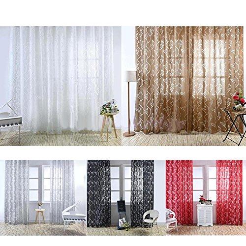 XdiseD9Xsmao Delicate Durable Bubble Leaf Pattern venster gordijn douchegordijnen slaapkamer woonkamer ornament decoratie 100x270cm zwart