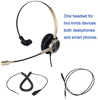 Phone Headset RJ9 for Office Call Center with Noise Cancelling Mic with Extra 3.5mm Connetor for Mobiles Compatible w...