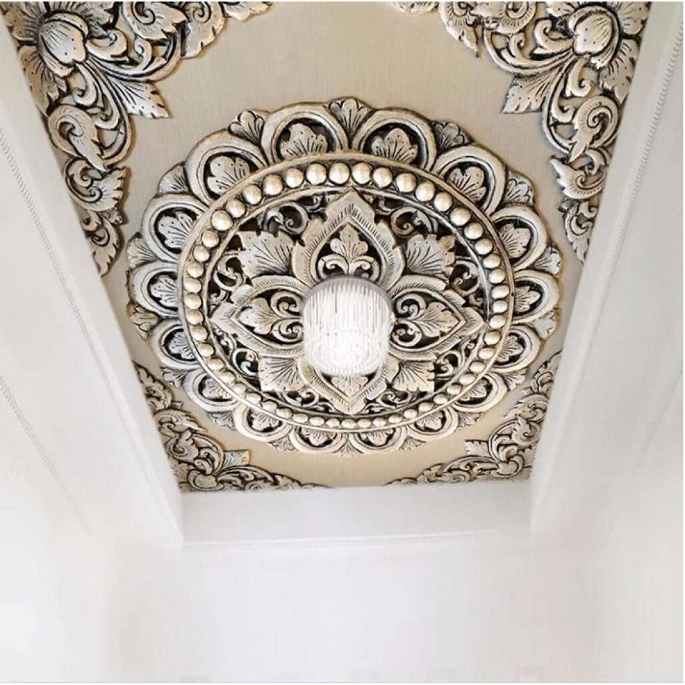 N\ A 3D Wallpaper European Dealing full price reduction Max 49% OFF Style Silver M Jewelry Ceiling Flower