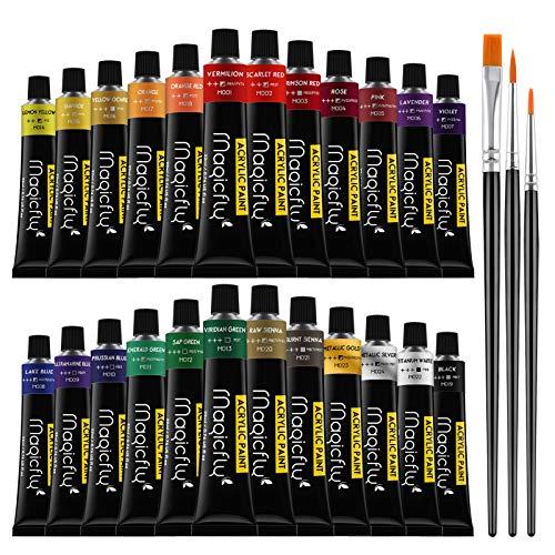 Magicfly Acrylfarben Set, 24 Tuben 22ml, Acrylfarben für Kinder Erwachsene, Acryl Bastelfarbe Set mit 3 Pinseln, Acrylic Paint für Holz, Leinwandpapier, Stein, Keramik, Modellbau, Künstlerbedarf