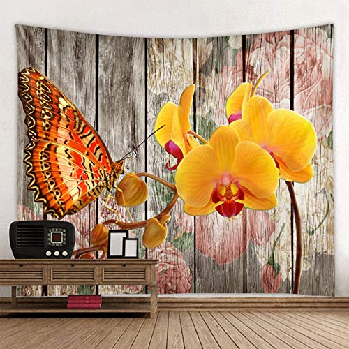 KHKJ Tapiz con Estampado de Flores de Mariposa 3D, Tapiz de Mandala, Toalla de Playa Redonda Bohemia, Manta de protección Solar, Bohemio A4, 200x180cm