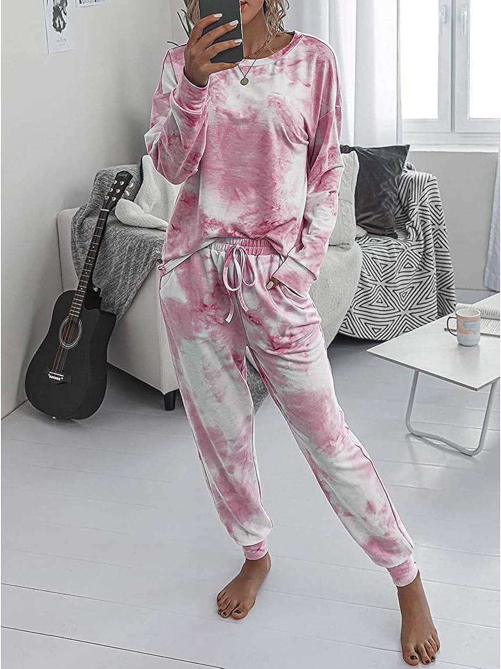 MEROKEETY Womens Tie Dye Print Pajama Sets Short Sleeve Tee and Shorts Loungewear Sleepwear