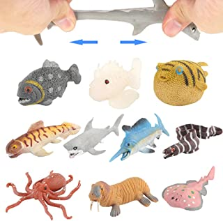 Ocean Sea Animal10 Pack Rubber Bath Toy SetFood Grade Material TPR Super Stretchy Some Kinds Can Change ColourValeforToy S...
