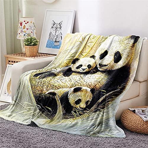 Mantas para Sofa Batamanta Mujer de Franela y Sherpa Manta Bebe Sofa Mantas con Estampados para la Cama y el Sofá 150x200 cm Panda Animal