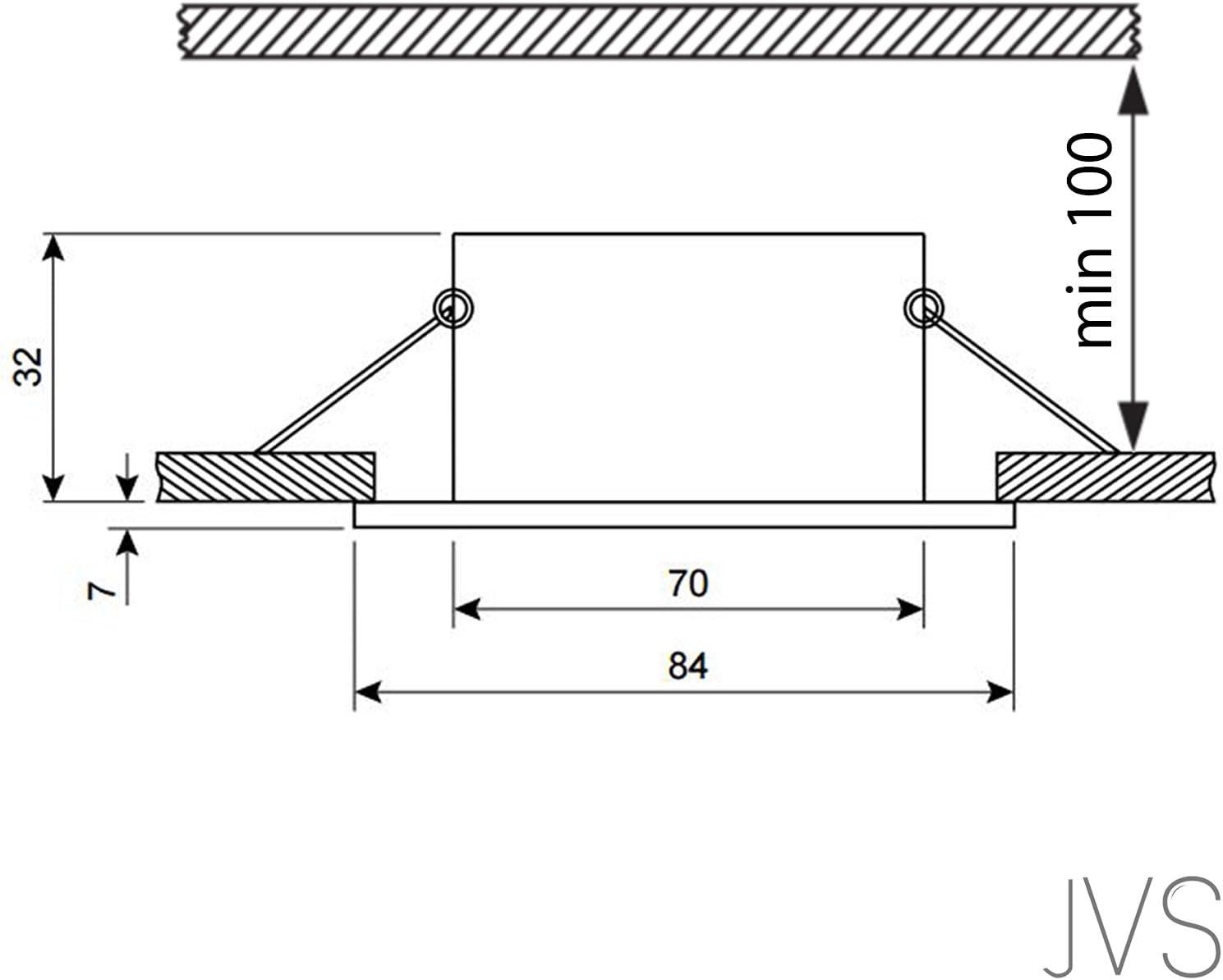 LED Einbaustrahler VENEDIG (Chrom) Quadratisch Inkl. 8 X 4W LED Kaltweiss 230V IP44 LED Deckenstrahler Einbauleuchte Deckeneinbaustrahler Einbauspot Spot Einbaustrahler Deckeneinbauleuchte Deckenspot 5er Set